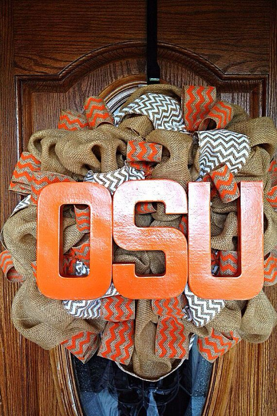 Oklahoma State University Burlap Wreath with Orange and White Chevron Burlap Ribbon and Orange OSU Letters