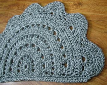 Crochet doormat / Light gray doormat / Door rug / Half circle doormat / Custom order