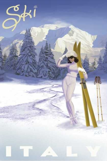 Vintage Travel Poster - Skiing - Italy.