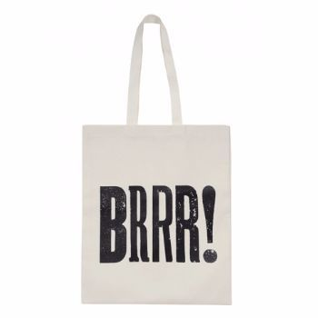 Alphabet Bags Alphabet Bags 'BRRR!' Canvas Shopper Bag: Heavy weight natural cotton shopping bag with 'BRRR!' screen printed in black across front.