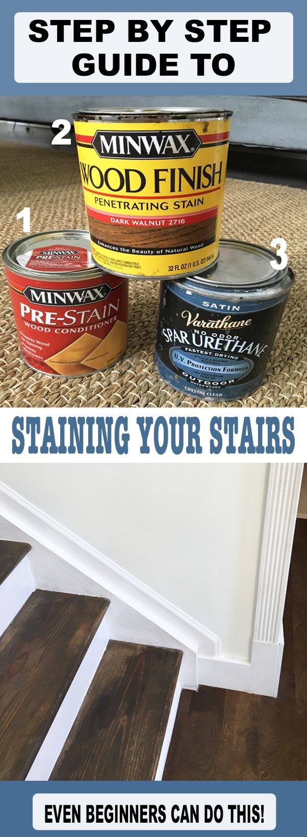 Sick of your carpeted stairs that never seem to be able to stay clean looking?  This tutorial will teach you how to take off the carpet on your stairs and use the wood underneath to create a beautiful stained steps and for under $100!  Wood Stairs DIY.  DIY Home Decor.