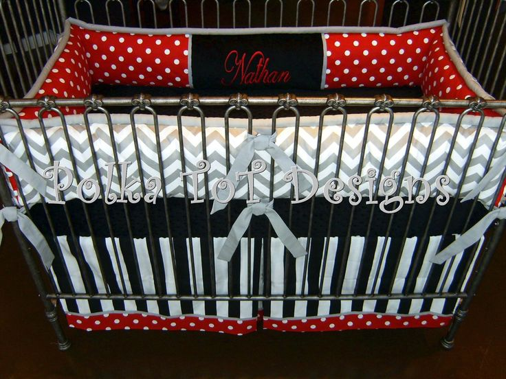 Black/Red/White & Gray....This set would work beautifully in a Disney inspired nursery!  #Disney #Baby #Bedding   http://polkatotdesigns.com/babyboybedding