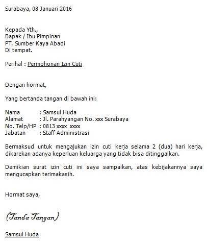 Download Contoh Surat Permohonan Cuti Kerja Word Words