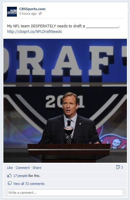 @CBS Sports will use Facebook for NFL Draft coverage. This begs an interesting question. When covering an event, is it good to focus on one specific social hub and then use the others after the live coverage? I've debated with our own company about this tactic. Interested in hearing others opinions.