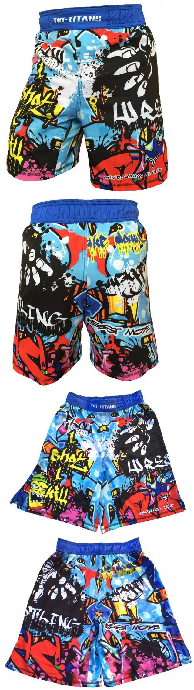 Clothing 79796: Graffiti Fight Shorts Wrestling Workout Training Athletics - Youth And Men Sizes BUY IT NOW ONLY: $34.99