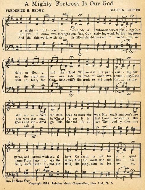 Sonday - {A Mighty Fortress is Our God} Antique Hymn Page Printable - Knick of Time