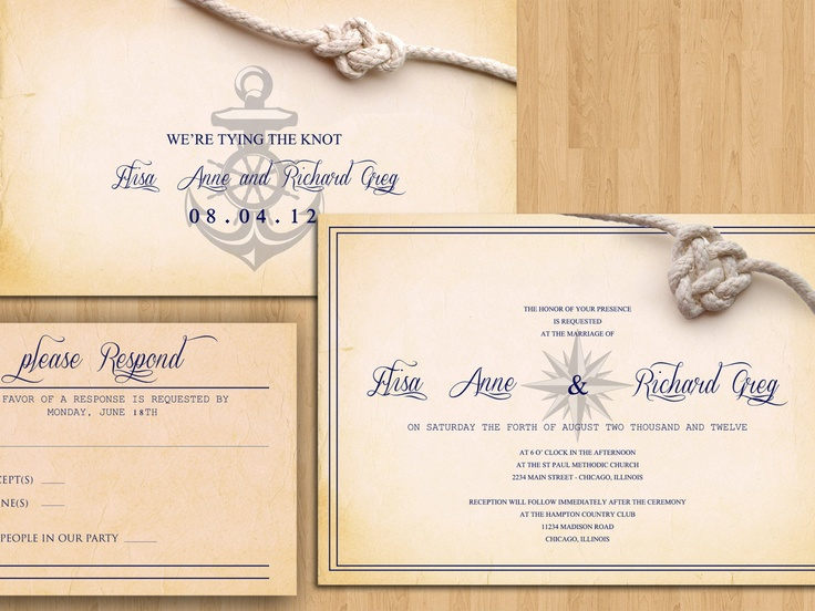 "How cool is this? I'm thinking a tagline like ""Join us as we set sail on our adventure together"" !!! NAUTICAL WEDDING INVITATION Beach Destination wedding Printable Template - San Diego Suite (Invitation, rsvp card and save the date card). $30.00, via Etsy."