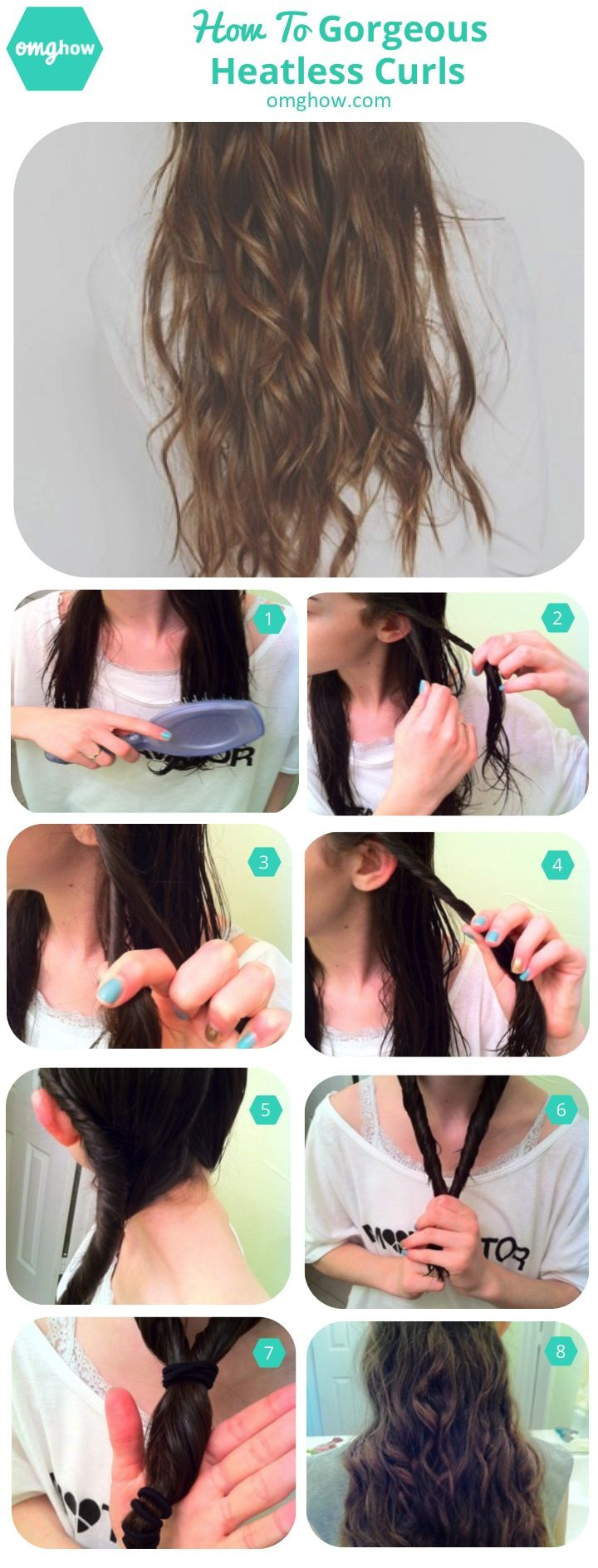 How To Wake Up With Gorgeous Heatless Curls via omghow.com