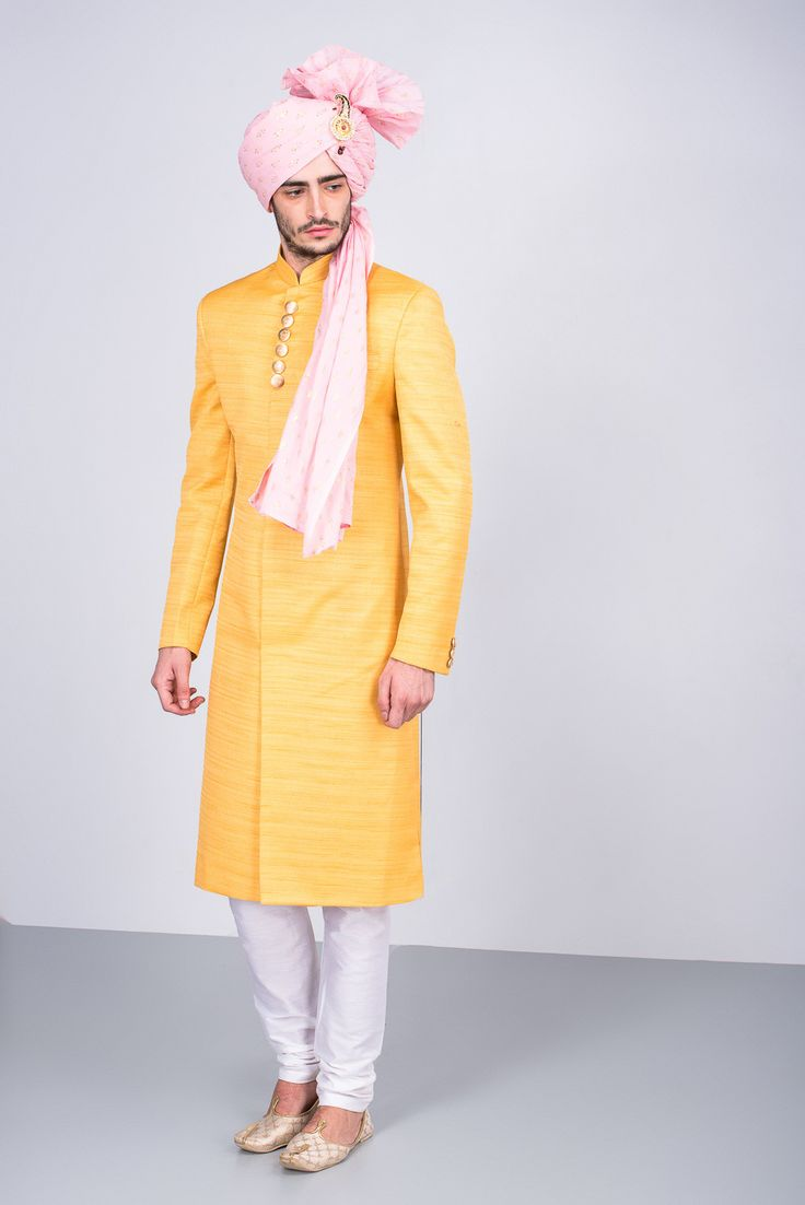 Oshnaar Mango Yellow Achkan with Metal Buttons