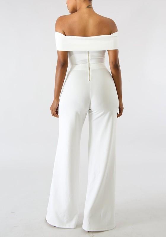 add98c12f91 White Zipper Off Shoulder Backless School Appropriate Elegant Party Wide  Leg Long Jumpsuit