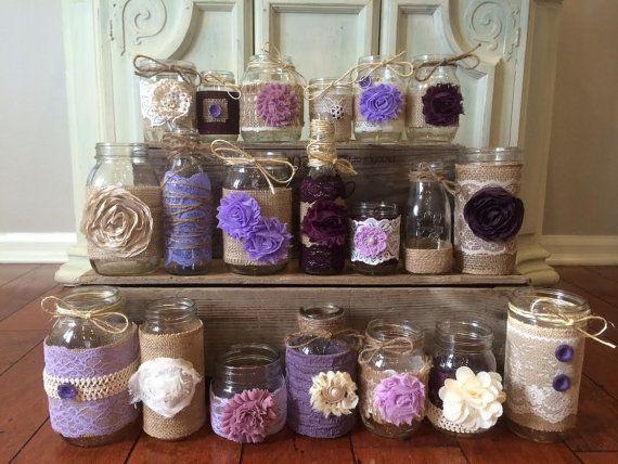 plum mason jars lavender mason jars lilac mason jars burlap wedding rustic wedding decor. Black Bedroom Furniture Sets. Home Design Ideas