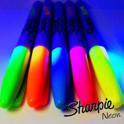 Introducing NEW Sharpie Neon! ULTRA-bright in daylight. FLUORESCES UNDER BLACK LIGHT!!!!