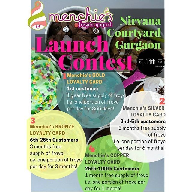 CONTEST ALERT!!!😍😍  Menchie's Frozen Yogurt Launch Contest at Nirvana Courtyard Gurgaon!!! Read on to participate and win your cup full of deliciousness ❤️  HURRY!!!! 🍨🍨🍨  #menchiesfrozenyoghurt #menchiesgurgaon #contestalert #excitingoffers #loyaltycards #giveaways #wemakeyousmile #menchies #menchiesindia #froyo #comingsoon #yogurtland #yogurt #guiltfree #sweet #america #india #gurgaon #delhincr #foodie #foodgram #lbbgurgaon #lbbdelhincr #foodtalkindia #gurgaonfoodies #brand #delicious…