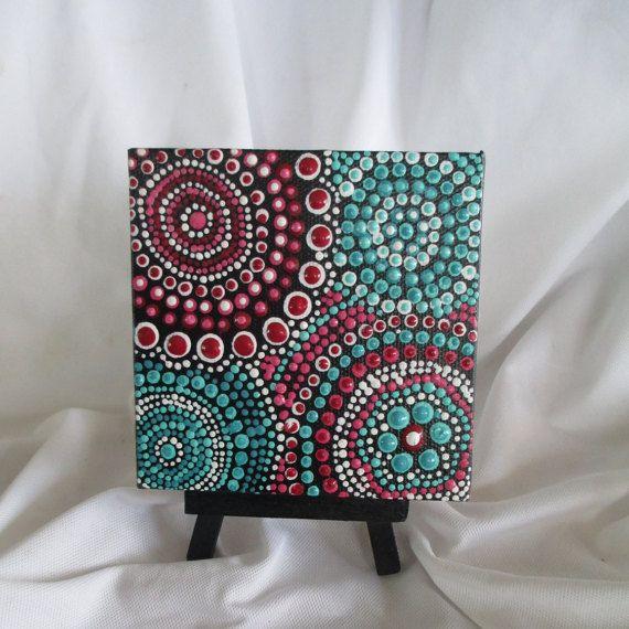 Aboriginal Art,Aboriginal painting, Dot Art,Dot painting original mini 4 x 4 canvas, #349 small painting with easel,red blue painting