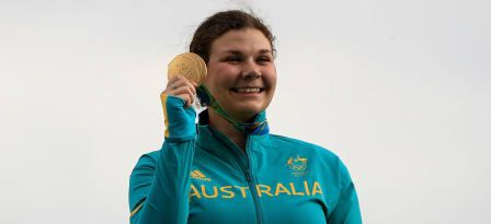 RIO DE JANEIRO, BRAZIL - AUGUST 07: Gold medalist Catherine Skinner of Australia smiles on the podium during the medal ceremony after winning the Women's Trap event during the shooting competition on Day 2 of the Rio 2016 Olympic Games at the Olympic Shooting Centre on August 7, 2016 in Rio de Janeiro, Brazil. © 2016 Getty Images