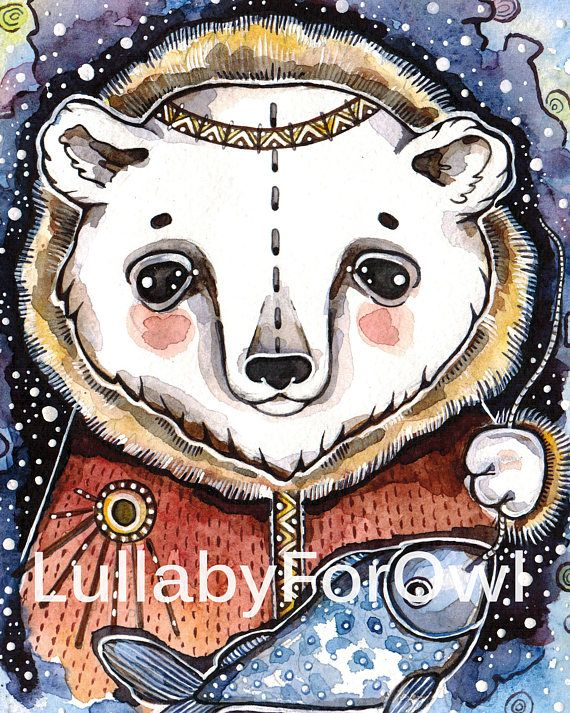 Nursery Set Print Watercolor Polar Bear Poster Set Nursery