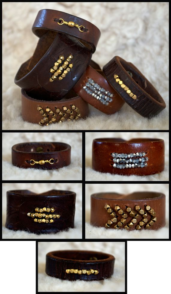 Leather + metal beads