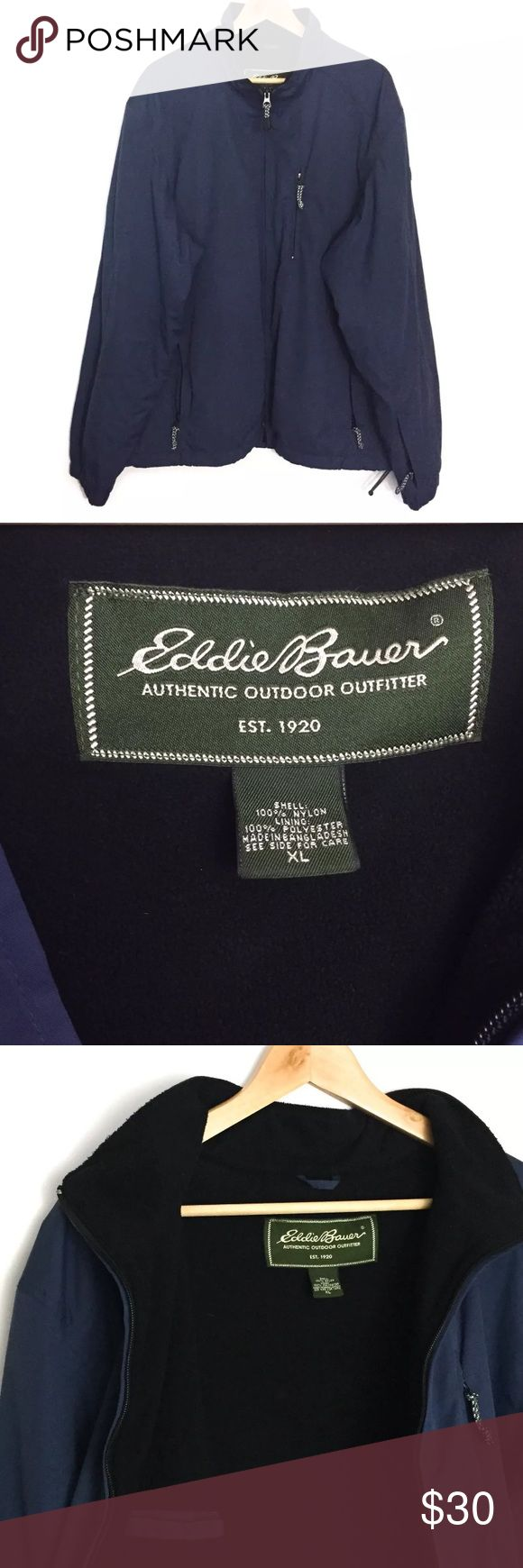 """Eddie Bauer Authentic Outdoor Outfitter Jacket Still in great condition. No flaws anywhere on the jacket. Great for outdoors adventures. Nylon shell, polyester lining. 4 pockets. Elastic cuffs.  Flat lay measurements: Shoulders: 22"""" Chest: 27"""" Sleeves:27"""" Cuffs: 5.5"""" Length: 29"""" Width: 25.5"""" Eddie Bauer Jackets & Coats"""