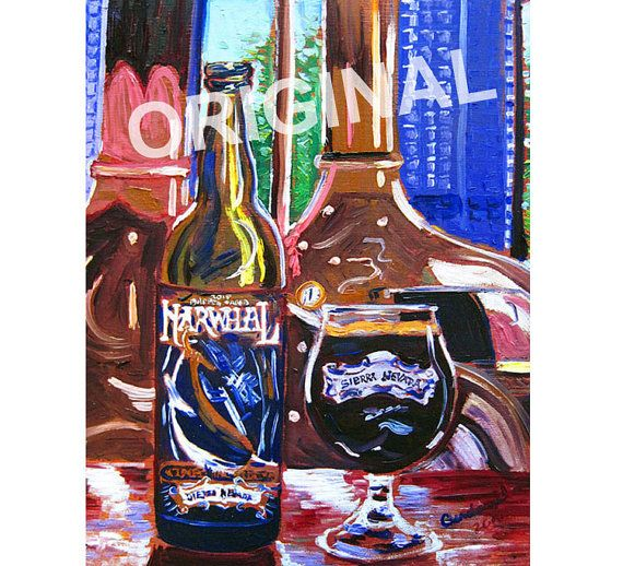 Sierra Nevada Brewing, Narwhal Barrel Aged Imperial Stout, Gift for Brewer, California Beer Painting, Art for Men, Bar Beer Art, Brewery Art
