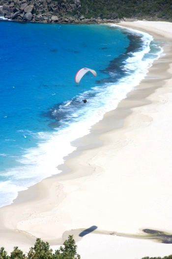 ALBANY AUSTRALIA ~ Paragliding over Shelley Beach, Albany. Again white sand beach, and hills behind to paraglide  off of.