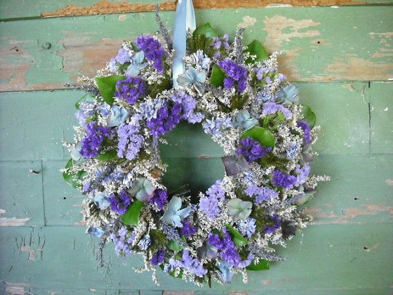 Dried flower wreath in shades of violet blue by NHWoodscreations, $29.00