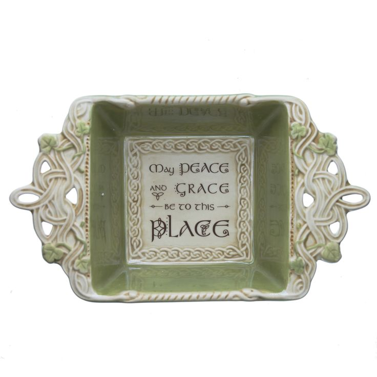 Celtic Shamrock Irish Blessing dish: May peace and grace be to this place.