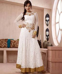 Buy Neha Sharma White Georgette Ankle Length Anarkali Suit 71979 online at lowest price from huge collection of salwar kameez at Indianclothstore.com.