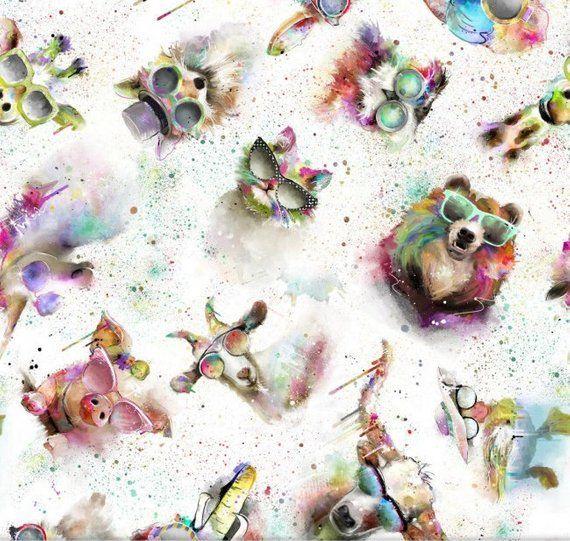 Dressmaking Quilting Craft SASSY ANIMALS Cotton Fabrics By Connie Hayley