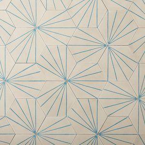 Dandelion - milk/azure hexagonal tile