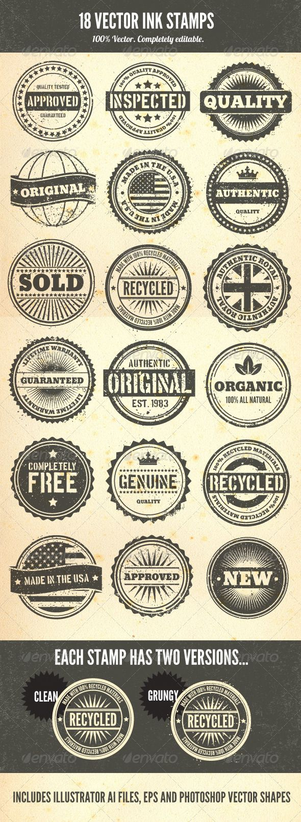Fun for marketing! Rubber Stamps - Vector Set - GraphicRiver Item for Sale