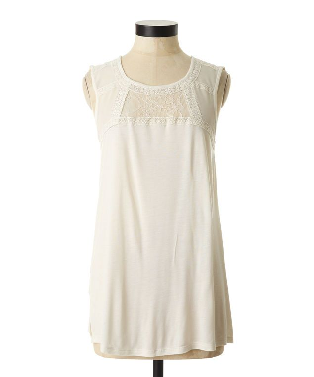 Sheer sleeveless top with mixed lace detail @Bootlegger