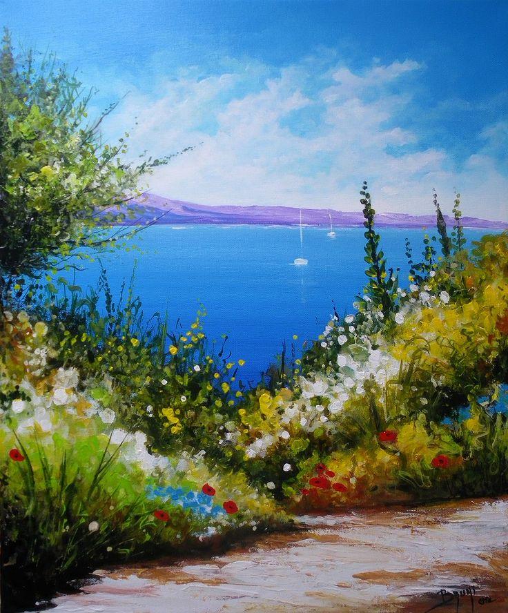 Peinture paysage marin tableau peinture bord de mer oeuvre originale bord de mer technique - Tableau bord de mer ...