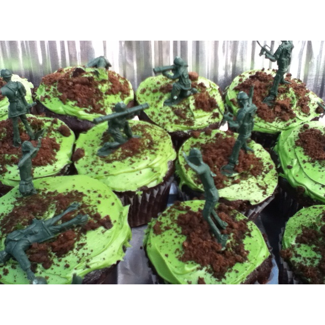 Army birthday cupcakes! Crush Oreos (with cream taken out) and sprinkle on top to look like dirt! Place plastic army men on top. So easy and fun!