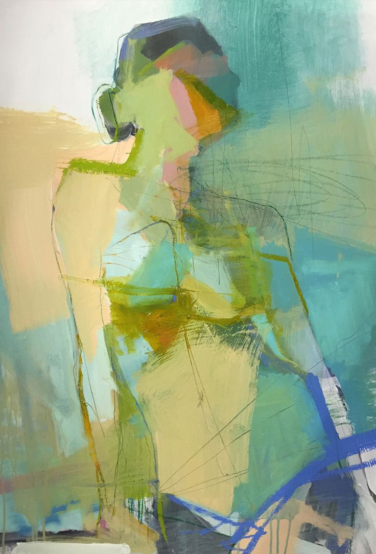 """Viridian Stance"" - Teil Duncan, acrylic on birch wood {figurative #expressionist art nude female torso painting} teilduncan.com"