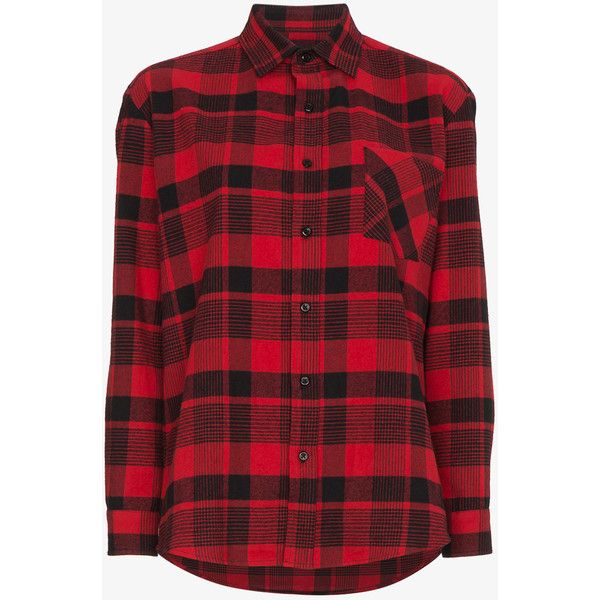Adaptation Longsleeved Plaid Button Down Shirt ($555) ❤ liked on Polyvore featuring tops, button-down shirts, red long sleeve top, long sleeve shirts, long-sleeve shirt and plaid shirts