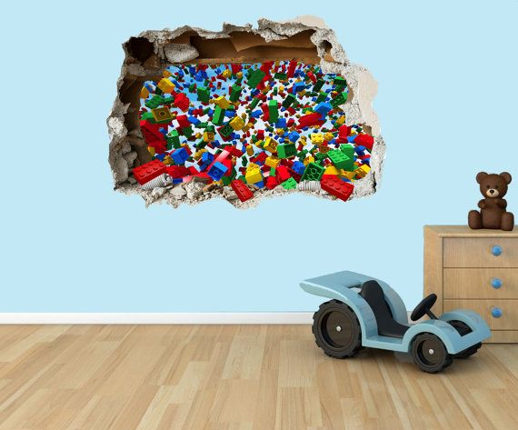 Lego Bricks 3D Effect Graphic Wall Vinyl Sticker Decal