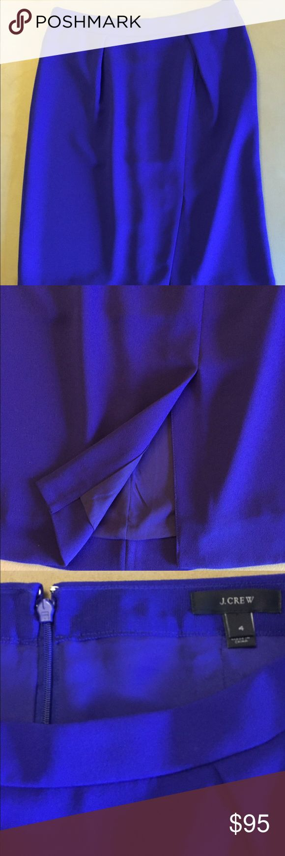 "J.Crew crepe drape pencil skirt, purple. Beautiful royal purple fabric (last photo is incorrect color, but shows fit on model). Pleats and split in front take this drapey pencil skirt up a notch. Fully lined. Size 4. Sits at waist, 23"" in length. Never worn. J. Crew Skirts Pencil"