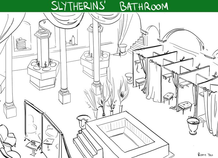 romyyao: One night I couldn't find sleep I realised hogwarts bathrooms were never described (and I was craving onsens because since I discovered them I'm obsessed) and I was thinking onsens would super fit hufflepuffs ! Then I tried to imagine the other houses' bathrooms … So here it is !It was a great exercise for me as I never design backgrounds !(uh tumblr presentation is shitty ;_;) Slytherin 01