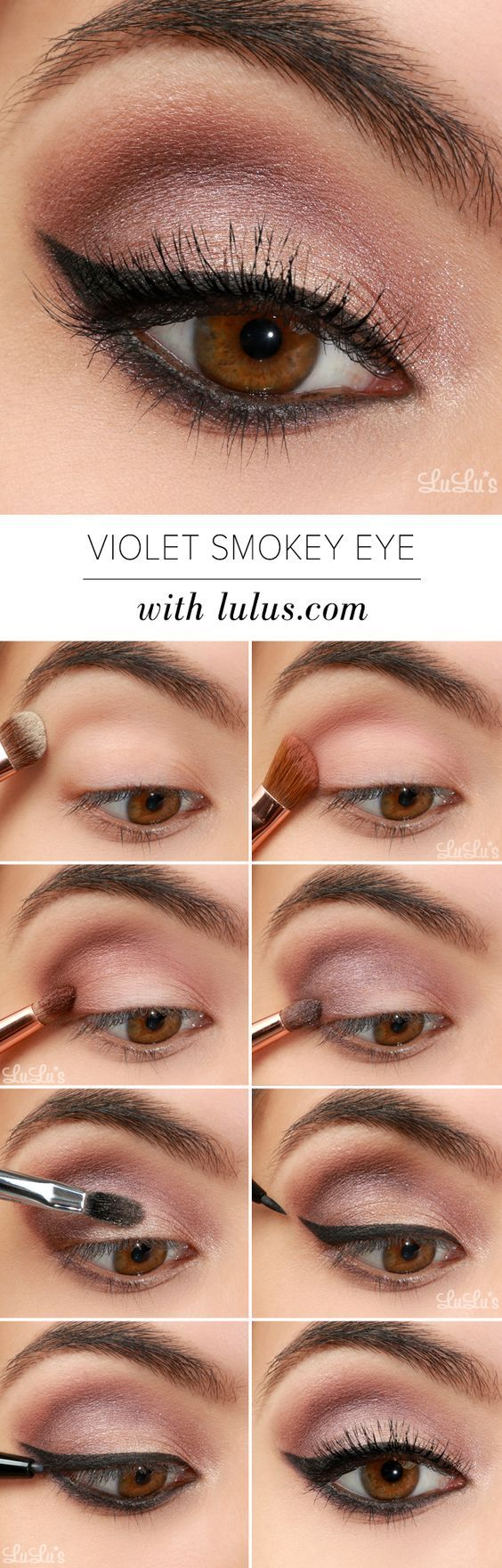 Violet Smokey Eye Makeup Tutorial offers a dreamy neutral look with a subtle pop of color! Give it a whirl and follow step-by-step. http://blog.lulus.com/beauty/lulus-how-to-violet-smokey-eye-makeup-tutorial/