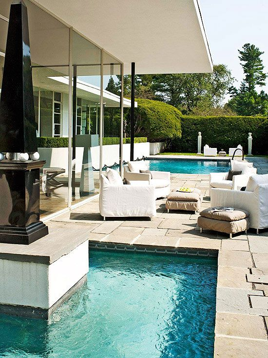 We would love to lounge by the pool on this patio! More outdoor furniture and fabric ideas: http://www.bhg.com/home-improvement/porch/outdoor-rooms/outdoor-furniture-and-fabric-ideas/?socsrc=bhgpin060113pool=8