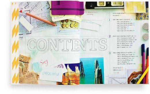 Photo book inspiration | a magazine layout featuring centered Shiite space and ephemera border