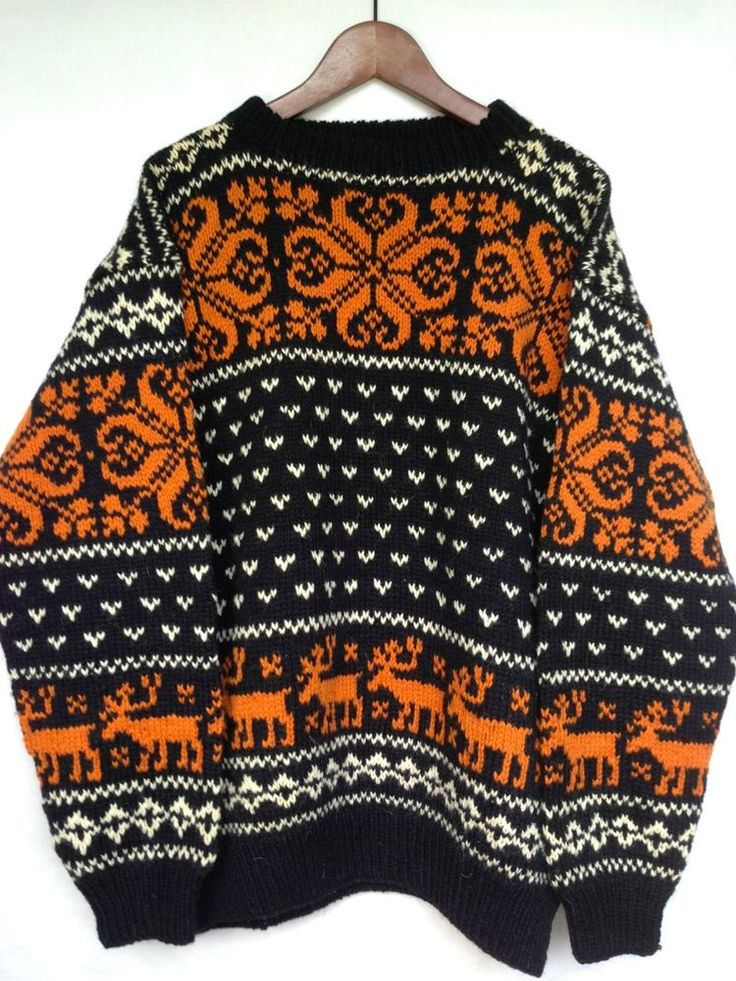 Norway OSLO William Schmidt Men XL KNIT Wool VTG 60s Sweater Norwegian Moose Ski