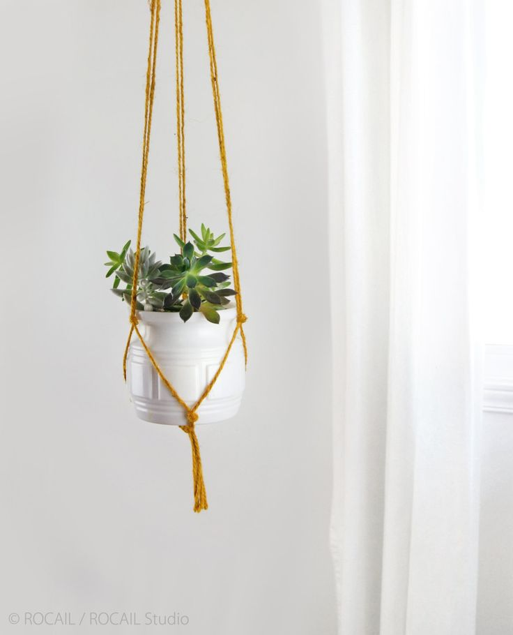 Mustard yellow macrame plant hanger | DIY hanging planters | Modern and minimalistpot holder | Indoor wall planter for herbs, succulent by RocailStudio on Etsy