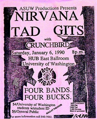 Nirvana, Tad, the Gits punk hardcore flyer, via Flickr.