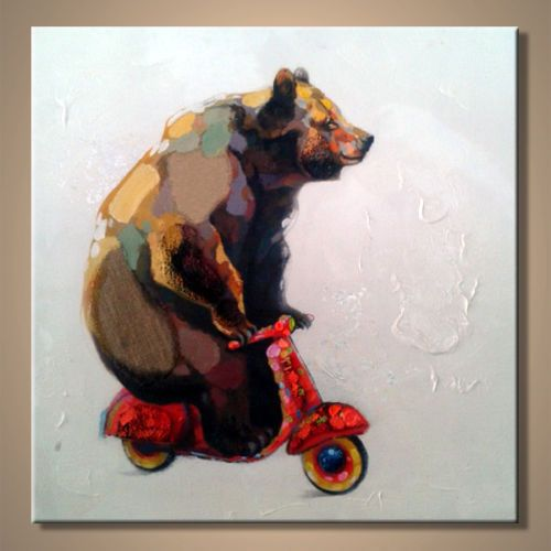 Hand-painted Modern Abstract Wall Art Large Oil Painting Bear Ride Motorcycle in Art, Direct from the Artist, Paintings | eBay