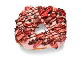 Strawberry Fields(Strawberry Icing, Freeze-Dried Strawberries, Pocky Stick) : Psycho Donuts, San Jose and Campbell, Calif. psychodonuts.com