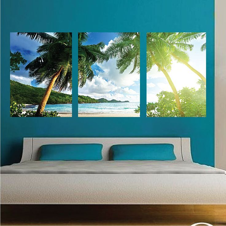 Palm Tree Wall Mural Decal, Palm Tree Wall Art Decals, Large Beach Wall  Mural Design
