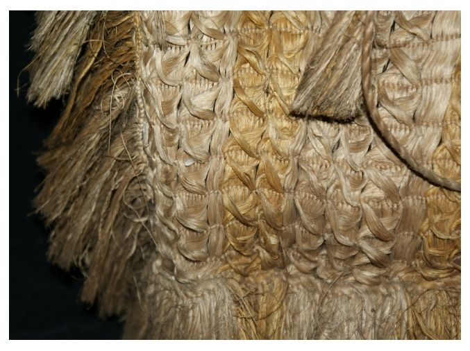 Detail of the fine flax weave Māori kete