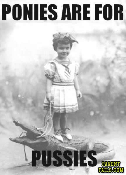 Ponies Are For Pussies: Little Girls, Crocodiles, Vintage Photographers, Ponies, Pet, Funny, Alligators, Kids, Animal