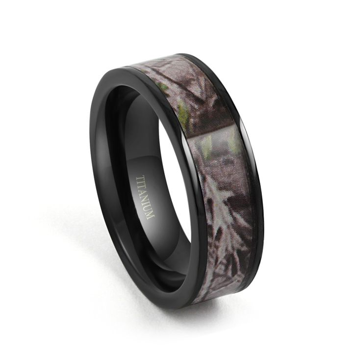 7mm Camo Hunting Camouflage Black Titanium Ring Wedding Band Camouflage Wedding Band Mens Womens